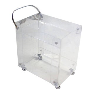 Early 20th Century Vintage Geometrical Lucite Serving Tea Bar Cart on Wheels For Sale