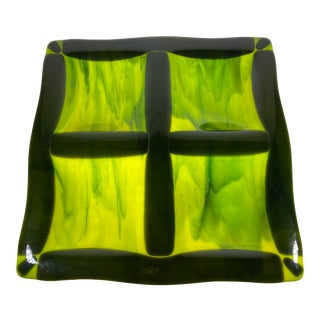 Mid Century Modern Lime Green and Black Fused Art Glass Snack Dish For Sale