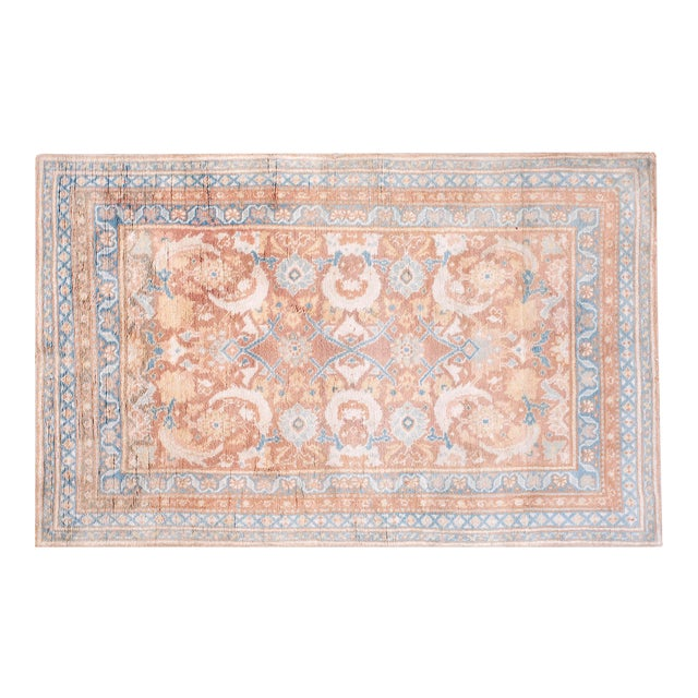 """1910s Traditional Blue and Peach Cotton Rug - 4'2""""x6'8"""" For Sale"""