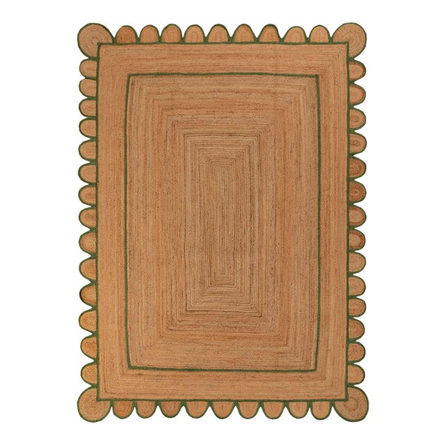 4'x6' Olive Green Scallop Jute Hand Made Rug For Sale
