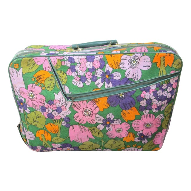 Vintage 60's Floral Fabric Overnight Suitcase - Image 1 of 7