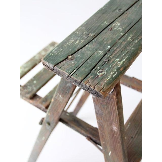 Vintage Green Wood Ladder For Sale - Image 9 of 9