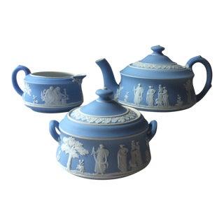 Antique Tea Set Blue Wedgewood Jasperware - Set of 5 For Sale