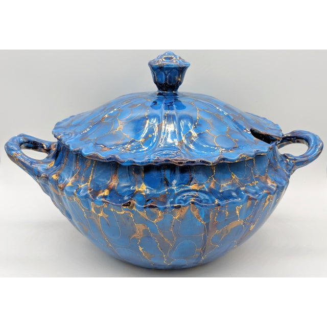20th Century Contemprary Blue and Gold Ceramic Soup Tureen For Sale - Image 9 of 9