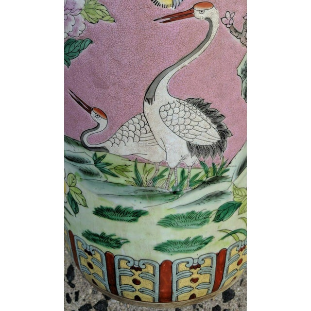 Mid 20th Century Vintage Chinese Famille Rose Medallion Porcelain Umbrella Stand For Sale - Image 5 of 11