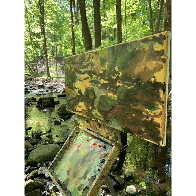 Canvas Impressionist The Stream Painting on Canvas For Sale - Image 7 of 9