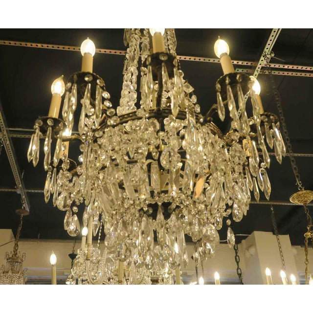 Mid 20th Century Antique 10 Arm Crystal Chandelier For Sale - Image 5 of 12