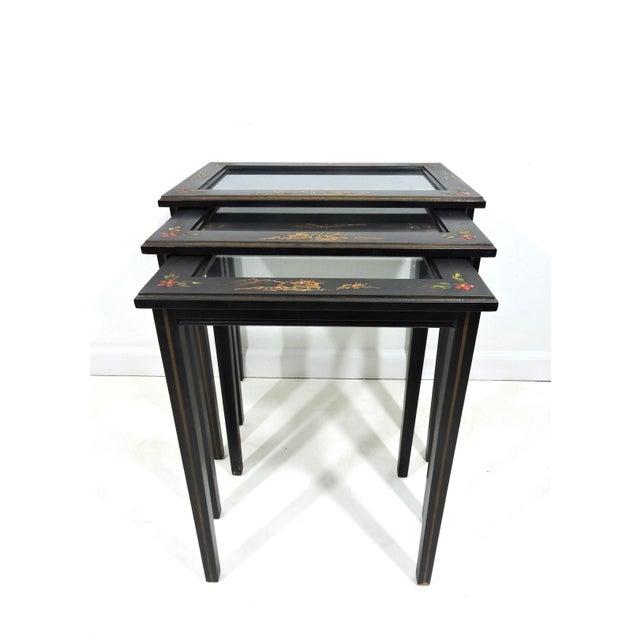 Mid 20th Century Vintage Black Japanned 'Pagoda & Landscape' Asian Glass Top Nesting / Side Tables - Set of 3 For Sale - Image 5 of 9
