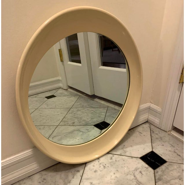 Traditional Beige Framed Oval Antique Mirror For Sale - Image 3 of 4