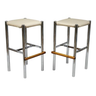 Pair Mid Century Modern Chrome & Oak Wood Barstools Bar Stools Vtg Baughman Era