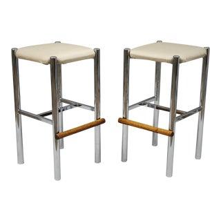 Pair Mid Century Modern Chrome & Oak Wood Barstools Bar Stools Vtg Baughman Era