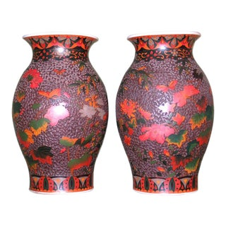 Late 19th Century Japanese Cloisonne Vases Totai Tree Bark - a Pair For Sale