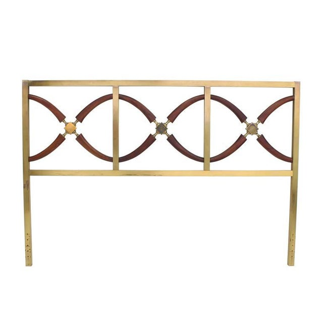 Early 20th Century Very Brass and Walnut Queen Size Headboard Bed For Sale - Image 5 of 5