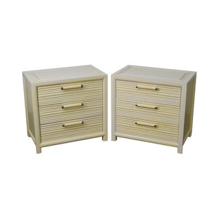 Century Vintage Pair of Faux Bamboo White Painted 3 Drawer Chests Nightstands