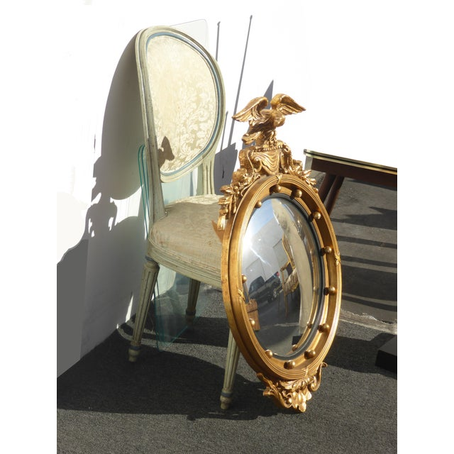 Federal Vintage Federal Eagle Convex Bullseye Gold Wall Mantle Mirror For Sale - Image 3 of 11