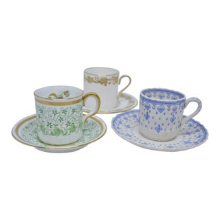 English Demitasse Cups & Saucers - Set of 3 For Sale