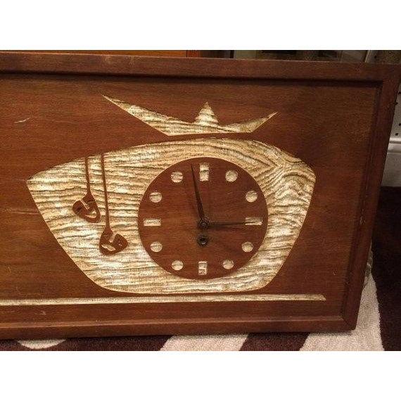 1960s SOLD-Mid-Century Modern Carved Cork Wall Clock For Sale - Image 5 of 6
