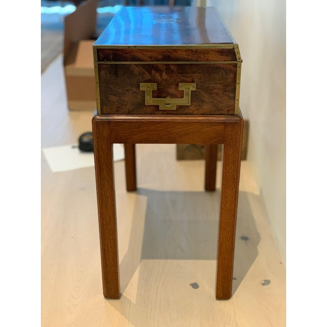 Antique Wooden Box on Custom-Made Stand For Sale - Image 4 of 13