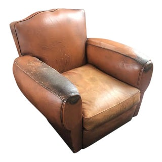 Original Vintage 1920's Leather Club Chairs - a Pair