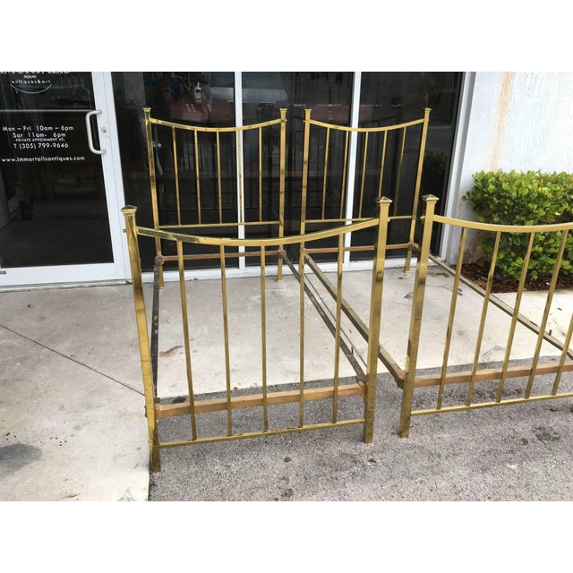 Metal Art Deco Brass Twin Bed French Single, Circa 1930 For Sale - Image 7 of 10