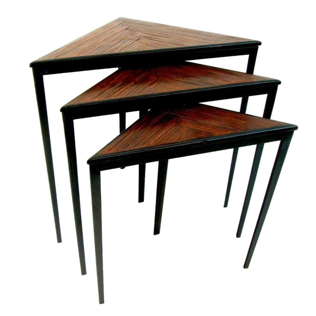 Attirant Brown Mid Century Iron U0026 Wood Triangular Nesting Tables   Set Of 3 For Sale