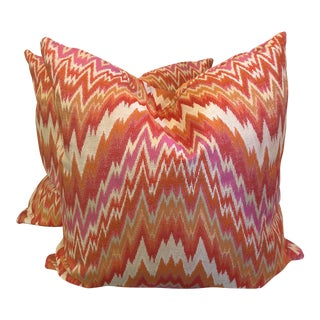 "Bright Flame Stitch 22"" Pillows-A Pair For Sale"