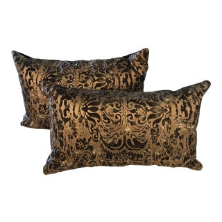 Vintage Fortuny Gold and Black Pillows - a Pair For Sale