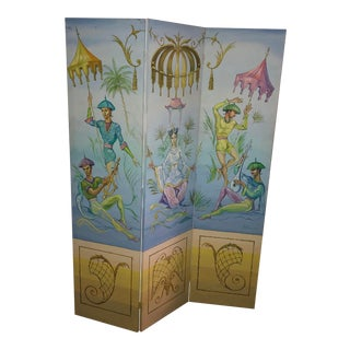 Vintage Neoclassical Whimsical Chinoiserie Painted Signed Room Divider For Sale