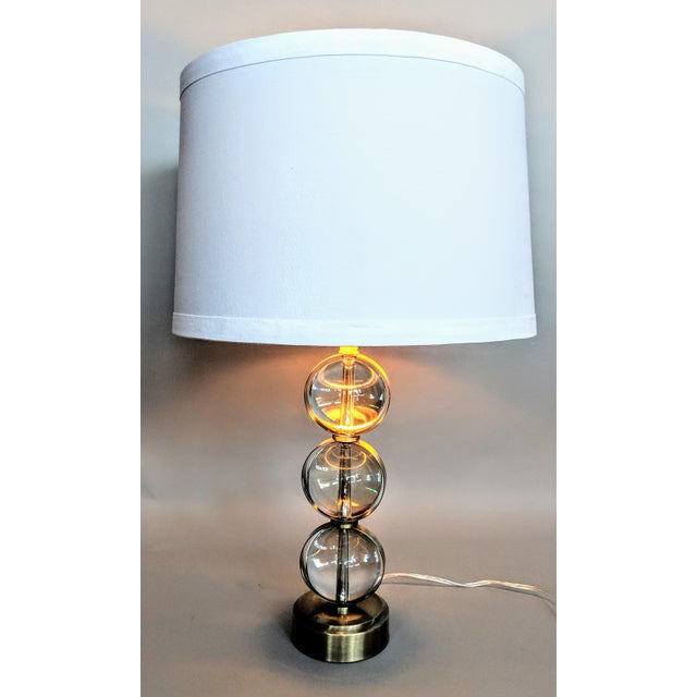Global Views Crystal Ball Lamp in Brass With Linen & Gold Lined Shade - a Pair For Sale - Image 11 of 13