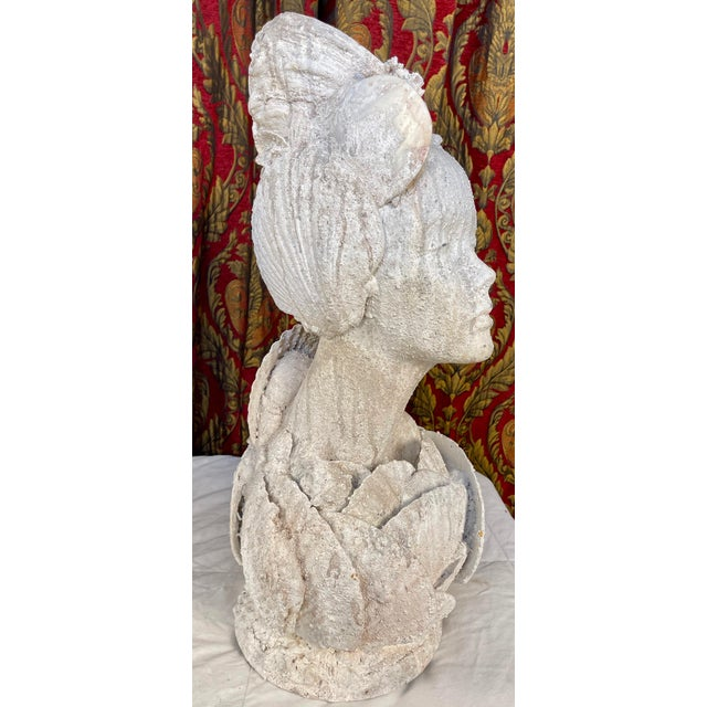 "Hollywood Regency 1990s ""Sea Queen"" Woman Bust Sea Shell Sculpture #3 For Sale - Image 3 of 11"
