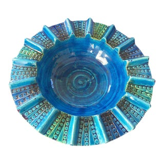Round Aldo Londi Blue Ceramic Ashtray Handcrafted in Italy For Sale