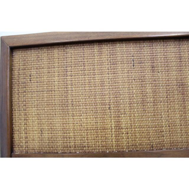 Mid-Century Modern John Stuart Style Walnut Caned King Size Headboard For Sale - Image 12 of 13