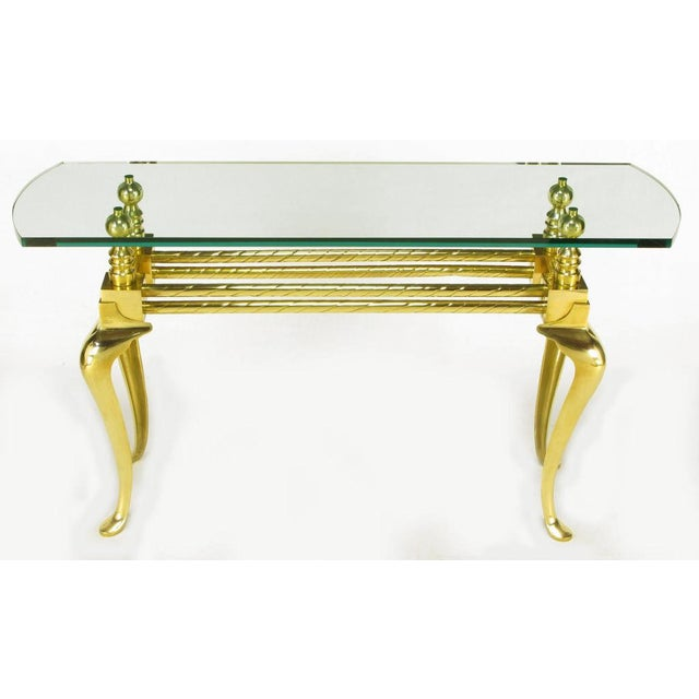 Cast & Polished Brass Cabriole Leg Console Table For Sale - Image 4 of 8
