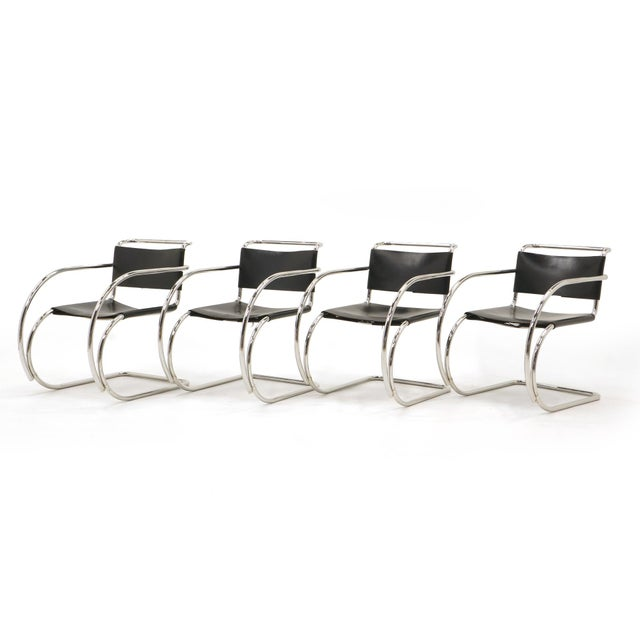 Set of Four Black Leather MR 20 Lounge Chairs with Arms by Mies van der Rohe For Sale - Image 12 of 12