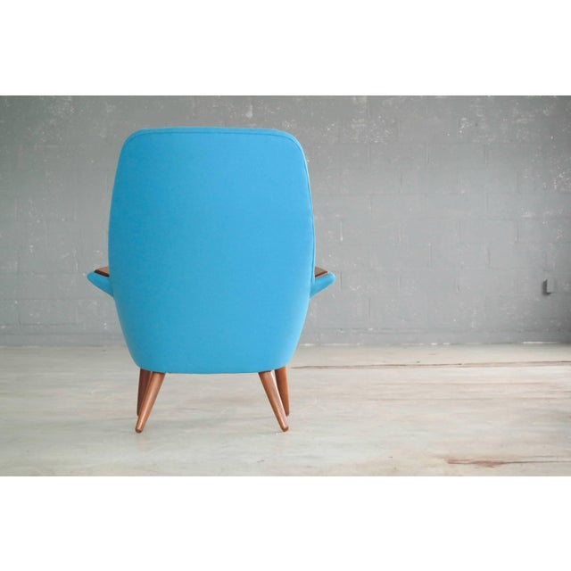 Blue Frode Holm Attributed 1950s Lounge Chair With Teak Armrests Upholstered in Kvadrat Divino Wool For Sale - Image 8 of 10