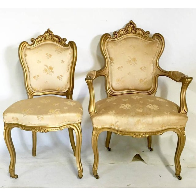 Antique French Louis XV Style Carved Gold Gilt Rolling Parlor Set - 3 Pieces - Image 4 of 10