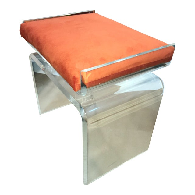 Lucite Cushion Top Ottoman/Seat For Sale