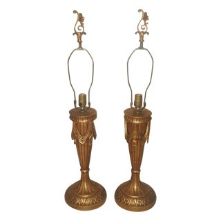 20th Century Rewired Italian Gilt Swag Lamps - 2 For Sale