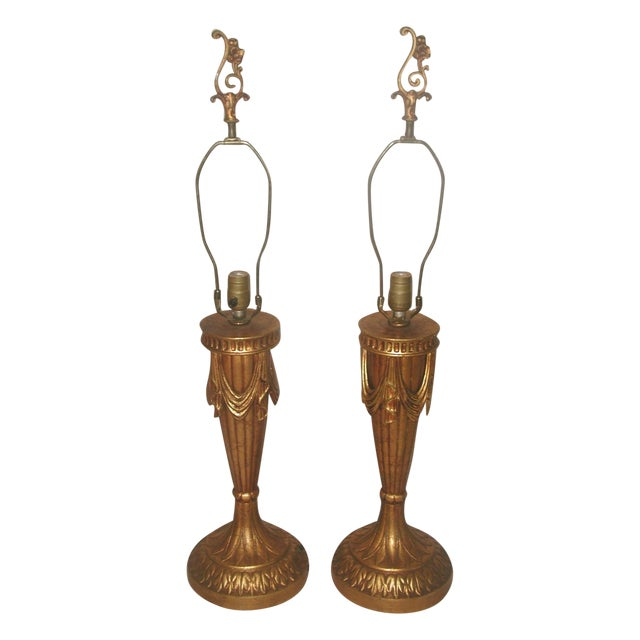 20th Century Rewired Italian Gilt Swag Lamps - 2 - Image 1 of 10
