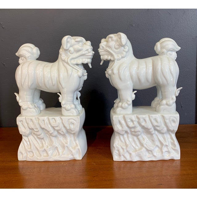 Asian Blanc De Chine Foo Dogs - a Pair For Sale - Image 3 of 4