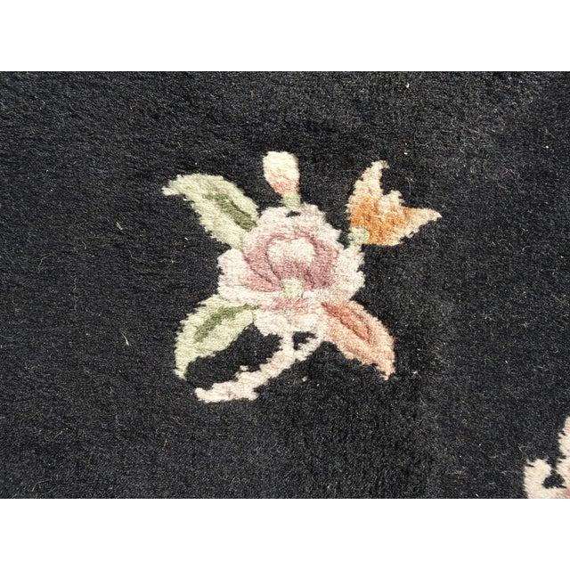 "Black Vintage Oriental Asian Black W Pink Floral Print Area Rug 43"" X 75"" For Sale - Image 8 of 13"