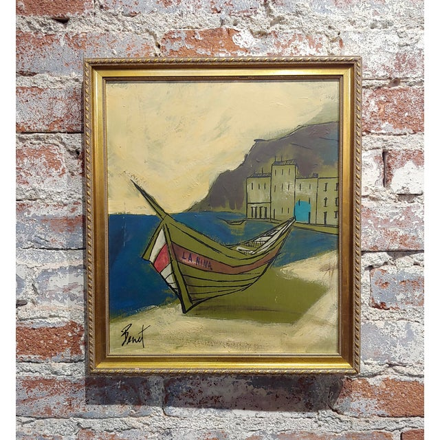 Oil Paint Benet -Fishing Boat Ashore - 1960s French Oil Painting For Sale - Image 7 of 7