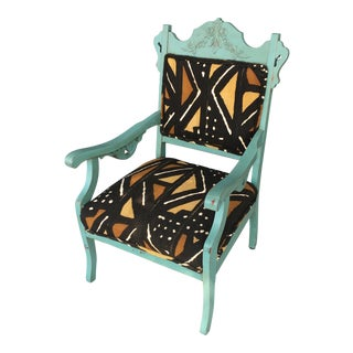 Turquoise Antique African Mudcloth Upholstered Chair