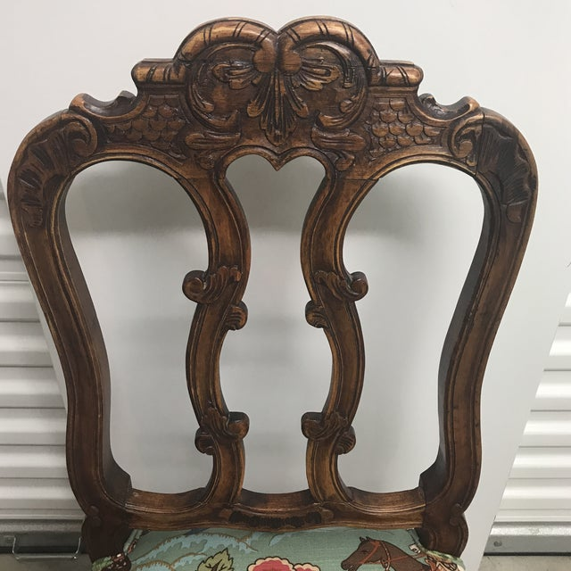 French Country French Walnut Chairs With Hunt Scene Upholstery - a Pair For Sale - Image 3 of 7