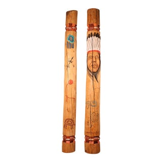 Wooden Indian Poles - A Pair