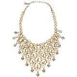 Image of French Geometric Brass & Swarovski Faceted Crystal Bib Necklace For Sale