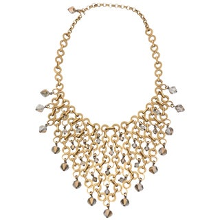 French Geometric Brass & Swarovski Faceted Crystal Bib Necklace For Sale