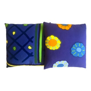 Marimekko Rare Vintage 1960's Scandinavian Mid Century Modern Throw Pillows - Set of 2 For Sale