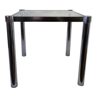 Vintage Mid Century ModernSmall Scale Square Chrome Glass Side Table For Sale