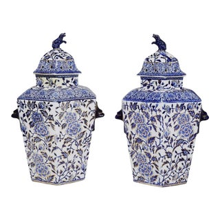 Pair of Large Mason or Ashworth Hexagonal Ironstone Vases & Covers, Circa 1840.